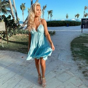 NWOT Blue boho halter dress